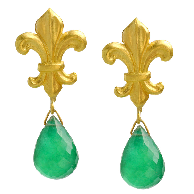 Fleur de Lis stud earrings with dangling green quartz teardrop briolettes