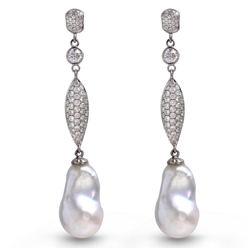 Marquise | Long dangling Pearl earrings