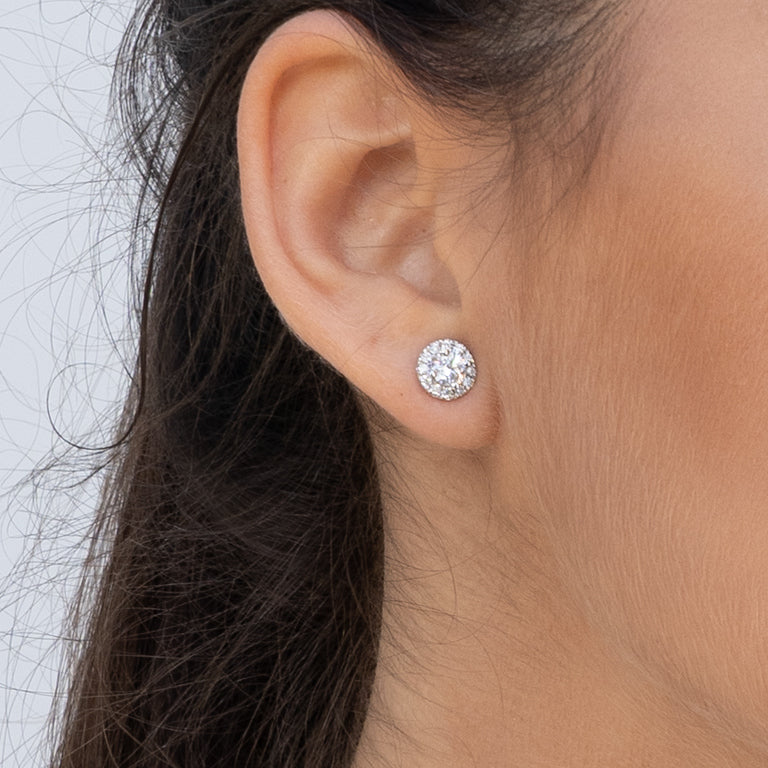 Diamond cluster royal stud earrings
