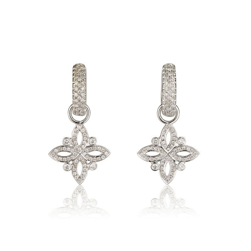 Iris diamond huggie earrings with