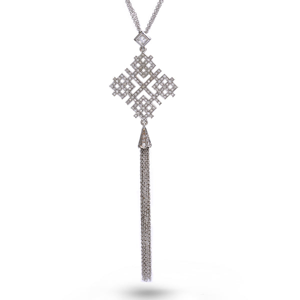 Scarlett | Diamond pave geometric decadent necklace with fringes