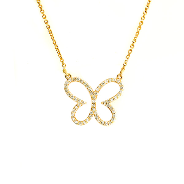 Butterfly diamond pave necklace