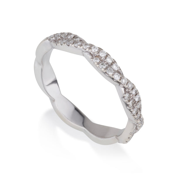 Braided eternity band with diamond pave