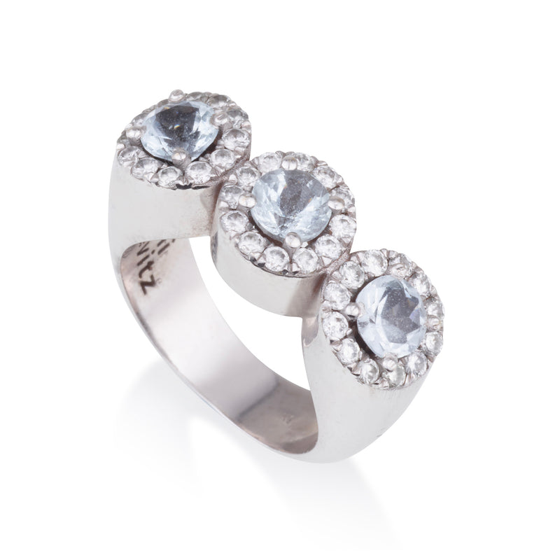 Royal three stone solitaire ring