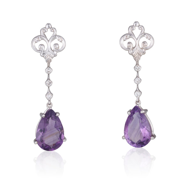 Alexa diamonds set studs with dangling Amethyst teardrops