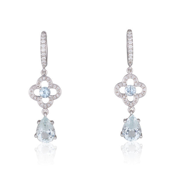 Romantic drop earrings with diamonds and Aquamarine
