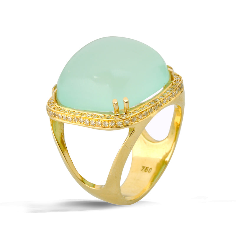 chalcedony cushion cut statement ring with diamonds halo