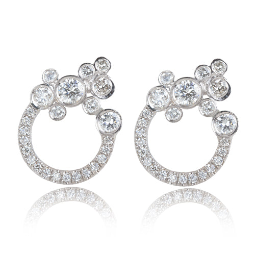 Sparkling Diamond Cluster  Earrings