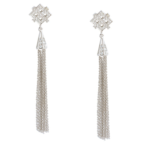 Scarlett | Diamond pave geometric decadent earrings with fringes