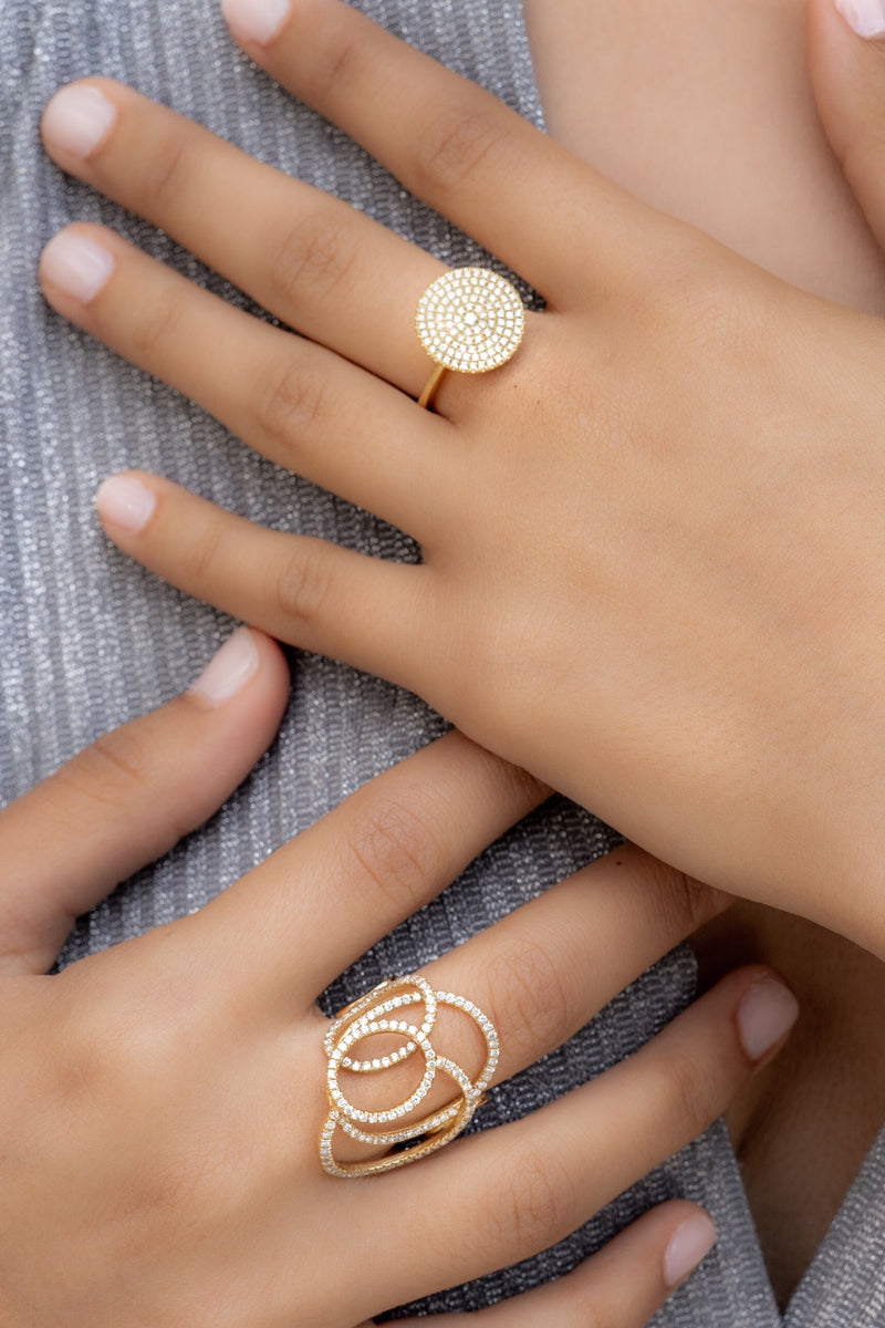 Interwoven diamond pave ring  ring