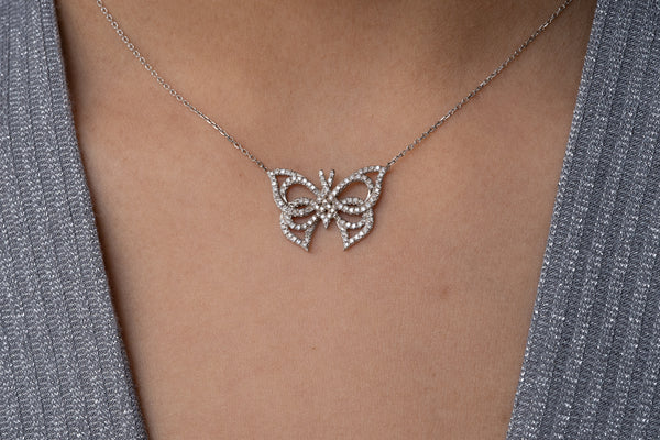 Butterfly Art Deco inspired necklace with diamond pave setting