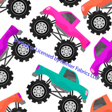 Load image into Gallery viewer, Monster Trucks - 2 variations and checkered flag - Order by half yard - See below for instructions on ordering and base fabrics