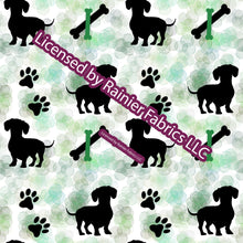 Load image into Gallery viewer, Dachshunds (dogs) in lots of colors - by Nina  - Order by half yard - See below for instructions on ordering and base fabrics