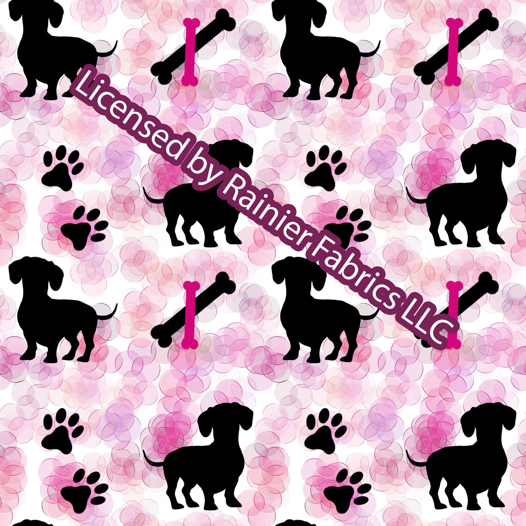 Dachshunds (dogs) in lots of colors - by Nina  - Order by half yard - See below for instructions on ordering and base fabrics
