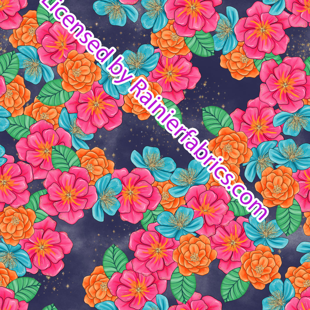 Floral pink and orange - Order by half yard -instructions below on base fabrics