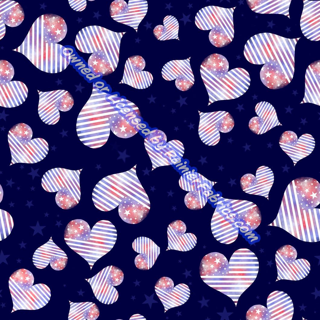 Yankee Doodle Hearts with Panel from Sarah - 2-5 day turnaround - Order by 1/2 yard; Description of bases below