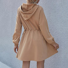 Load image into Gallery viewer, Cap Stitching Long Sleeve Autumn And Winter Dress