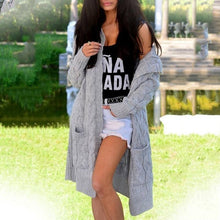 Load image into Gallery viewer, Warm Solid Hooded Cardigan Thick Sweater Coat