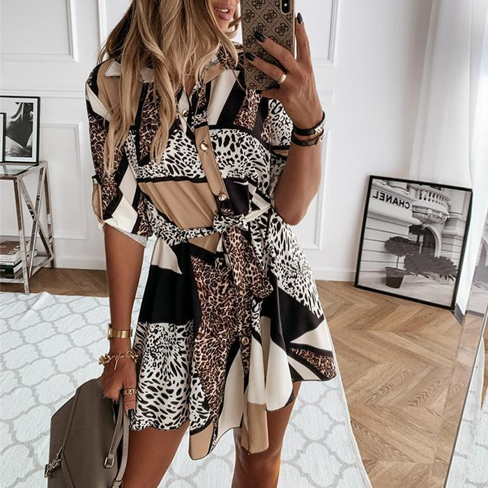 Printed Button Lace Long Sleeve Dress