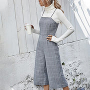 Retro Suspender Check Jumpsuit