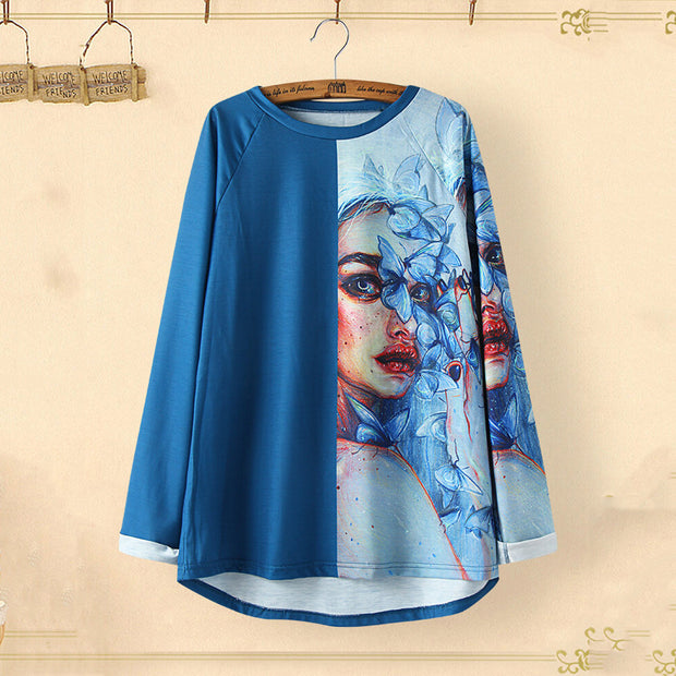 Abstract Versatile Print Long Sleeve Top