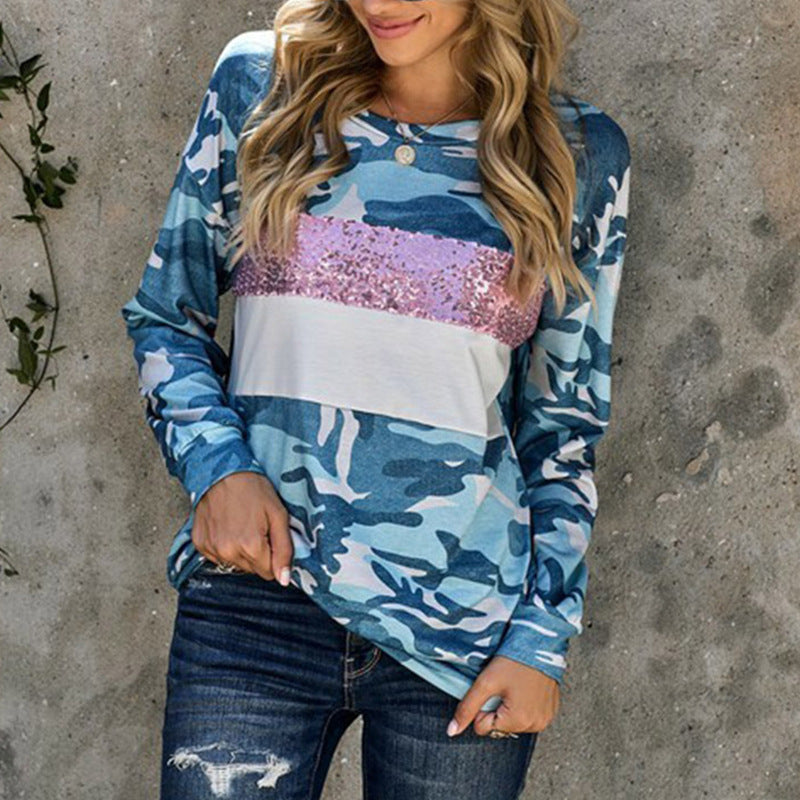 Printed Color Matching Sequins Loose Top