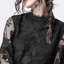 Load image into Gallery viewer, Lace Puff Sleeve Transparent Round Neck Blouse