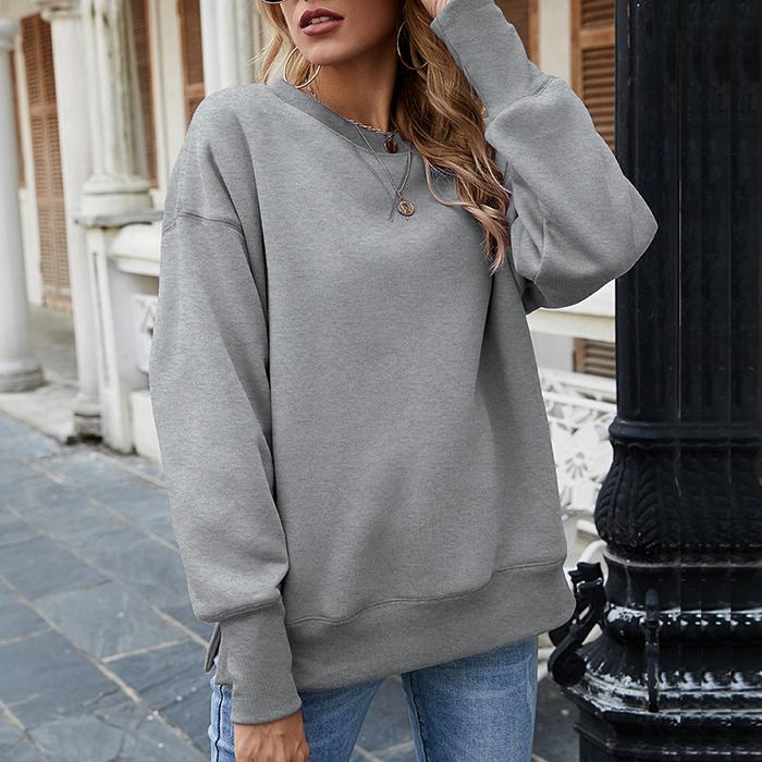 Slit Crew Neck Pullover and Fleece Sweatshirt