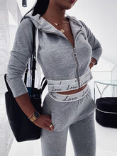Load image into Gallery viewer, Letter Print Hooded Top & Pants Set