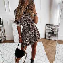 Load image into Gallery viewer, Printed Button Lace Long Sleeve Dress