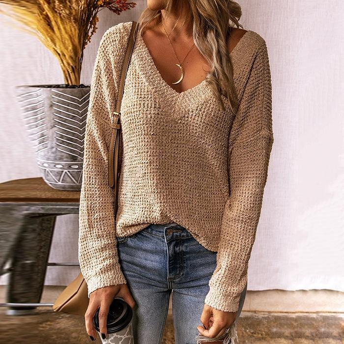 V-Neck Cross-Back Fashion Loose Sweater