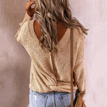Load image into Gallery viewer, V-Neck Cross-Back Fashion Loose Sweater