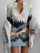 Load image into Gallery viewer, Long Sleeve Zipper Stand Collar Printed Slim Sweater Dress