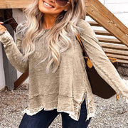 Simple and Versatile Round Neck Top Long Sleeve T-shirt