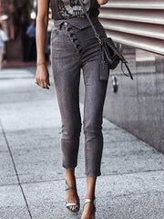 Women Buttoned High Rise Skinny Jeans