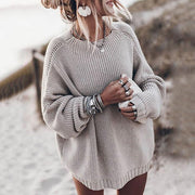 Women Solid Loose Pullover Sweater