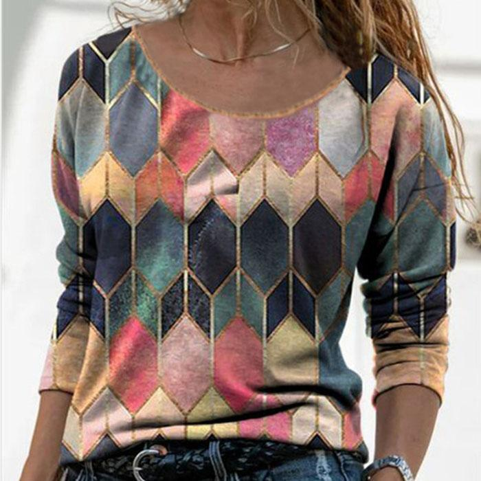 Retro Geometric Print Casual T-shirt
