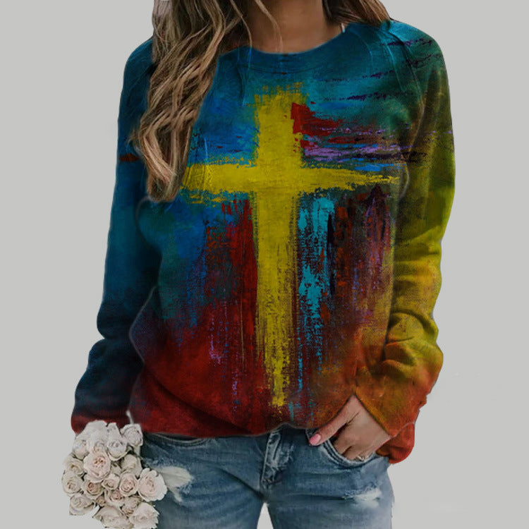 Casual Oil Painting Cross Print Sweatshirt
