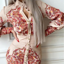 Load image into Gallery viewer, Printed Stand Collar Long Sleeve Dress