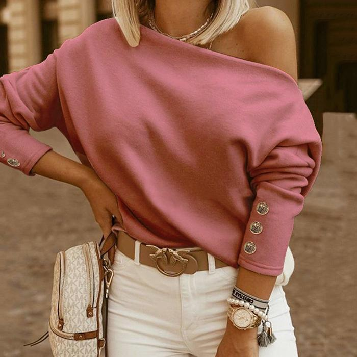 Casual Off-Shoulder Solid Color Sweatershirt