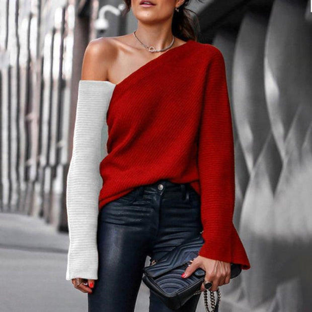 Fashion Contrast Stitching Off-Shoulder Knit Sweater