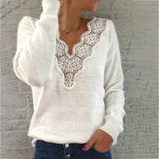 V-Neck Lace Stitching Plush Long-Sleeved Sweater