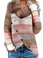Casual Stitching Irregular Long-sleeved Sweater