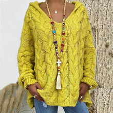 Load image into Gallery viewer, Pure Color Twist Knit Hooded Sweater