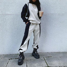 Load image into Gallery viewer, Black and White Stitching Hoodies Casual Pants Sports Suit