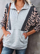 Load image into Gallery viewer, Women Leopard Paneled Casual Sweatshirts