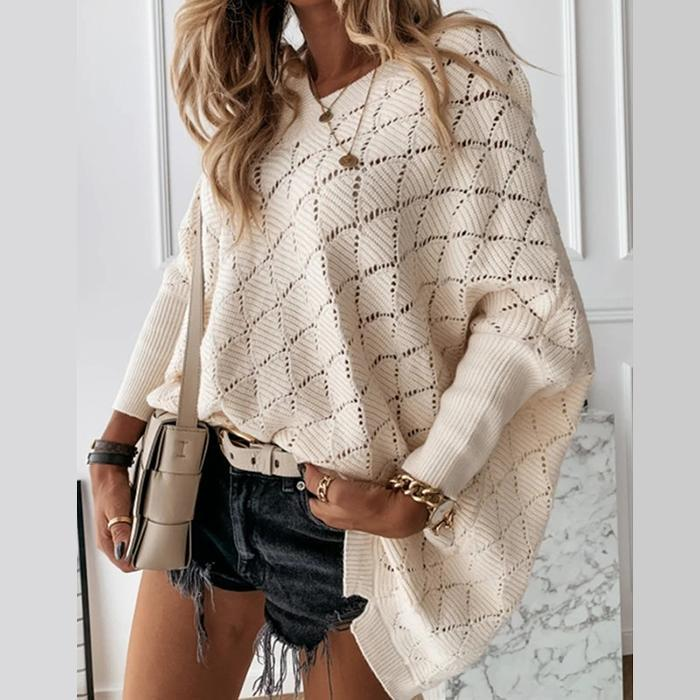 V-Neck Solid Color Cutout Bat Sleeve Loose Knit Sweater