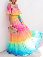 Load image into Gallery viewer, Sexy Strapless Rainbow Gradient Dress