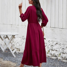 Load image into Gallery viewer, Burgundy Long Sleeve Dress