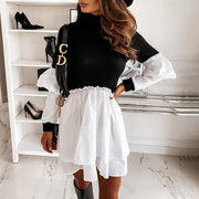 Casual Long Sleeve Stitching Dress
